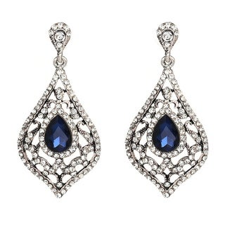 Vintage Style Filigree Crystal Diamond Shaped Dangle Earrings