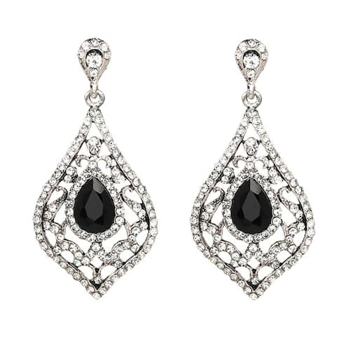 Vintage Style Filigree Crystal Diamond Shaped Dangle Earrings