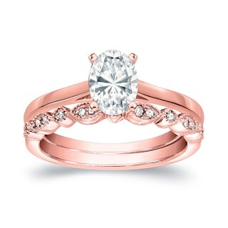 14k Gold Vintage Stackable 1 1/6ct TDW Solitaire Oval Diamond Engagement Ring Set by Auriya