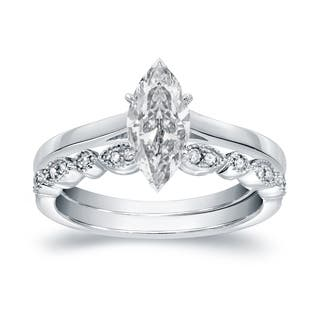 Auriya 14k Gold 1ct TDW Vintage Certified Marquise Diamond Solitaire Engagement Ring Set