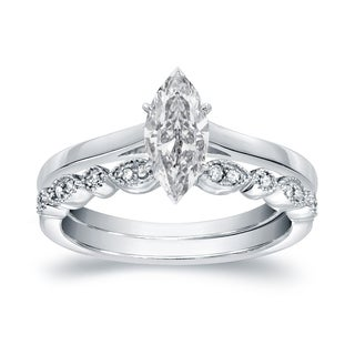 Auriya 14k Gold 5/8ct TDW Vintage Certified Marquise Diamond Solitaire Engagement Ring Set