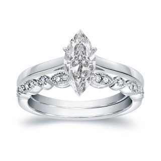 Auriya 14k Gold 7/8ct TDW Vintage Certified Marquise Diamond Solitaire Engagement Ring Set