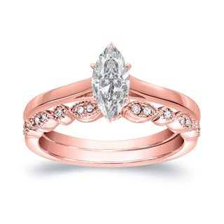 14k Gold Vintage Stackable 1/2ct TDW Solitaire Marquise Diamond Engagement Ring Set by Auriya