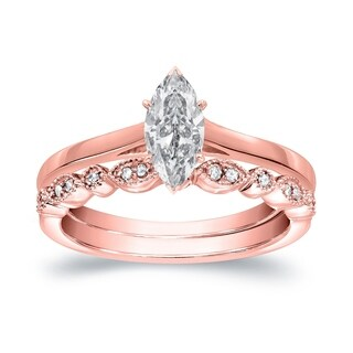 Auriya 14k Gold 1/2ct TDW Vintage Marquise Diamond Solitaire Engagement Ring Set