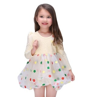 Toddlers Preschoolers Girl's Yellow Lace Dress with Colorful Polka Dots