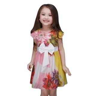 Pretty Multi-Color Floral Pattern Toddler Preschooler Girl's Cute Bow Dress