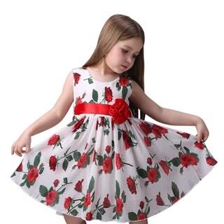 Toddler Preschooler Girl's Elegant Floral Roses Ruffle Red Bow Dress