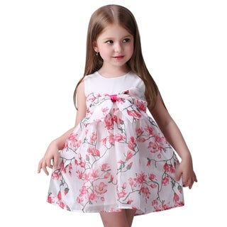 Casual Pink Floral Toddler Preschooler Girl's Cute Bow Dress