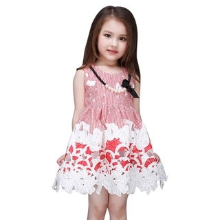 Toddler Preschooler Girl's Red Stripe Floral Pattern Cute Sleeveless Dress