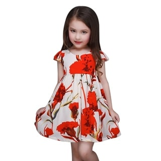 Casual Red Floral Toddler Preschooler Girl's Tie Back Dress