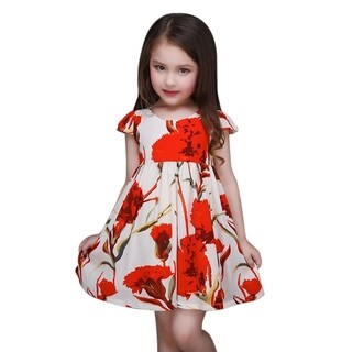 Casual Red Floral Toddler Preschooler Girl's Tie Back Dress (3 options available)
