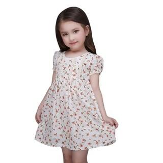 Toddler Preschooler Girls Orange Floral Vintage Ruffle Tie Back Dress