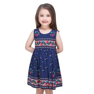 Toddler Preschooler Girl's Colorful Floral Pattern Vintage Dress in Royal Blue