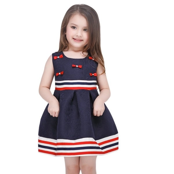 Toddler Preschooler Girl's Flower Bow Navy Blue and Red Stripe Dress