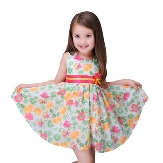 Casual Yellow and Pink Floral Toddler Preschooler Girl's Tie Back Dress