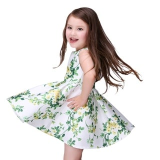 Casual Green and Yellow Floral Toddler Preschooler Girl's Tunic One Piece Dress