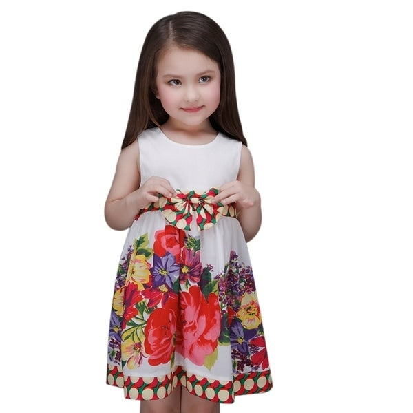Toddler Preschooler Girl's Cute Multi-Color Bow Red Floral Fancy Dress