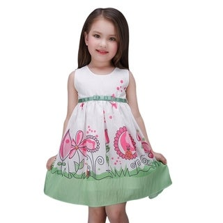 Toddler Preschooler Girl's Flower Ladybug Butterfly Green Princess Tie Back Dress