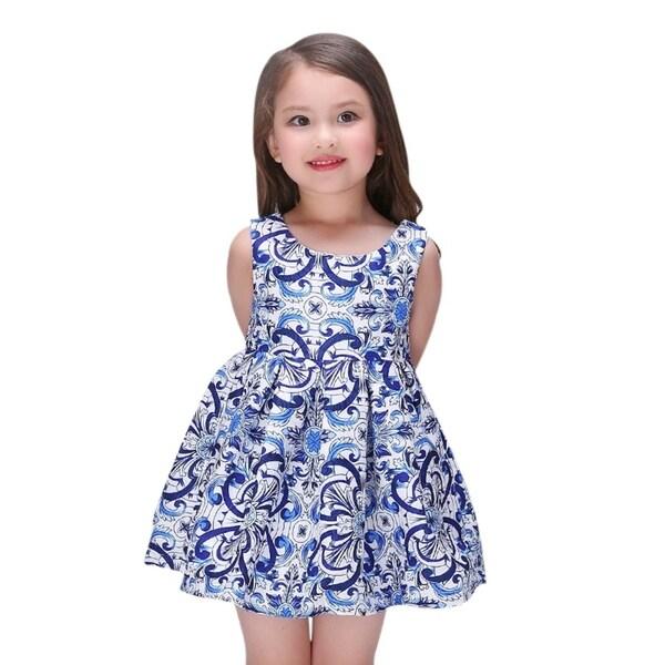 Little Girls Toddlers Preschoolers Cotton Floral Princess Blue Dress