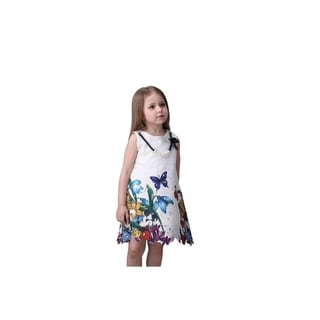Cute Little Girl's Embroidery White Party Pearl Tunic Colorful Floral Dress