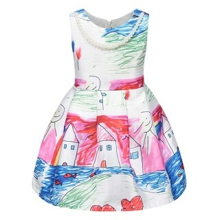 Toddler Preschooler Girl's Colorful House & Fish Crayon Drawing Pearl Dress