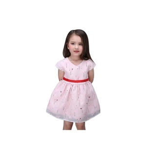 Flower Girl Pink Flamingo Little Girl's Pink Silk Tie Back Dress