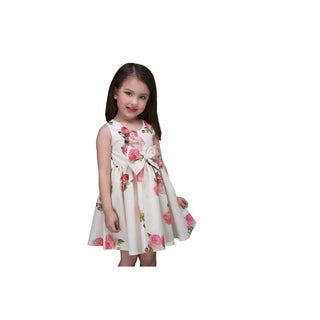 Casual Summer Toddlers Preschoolers Little Girl's Bow Pink Floral Ruffle Dress (3 options available)