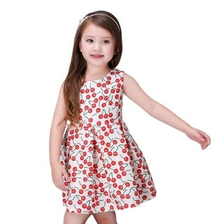 Toddlers Preschoolers Girl's Day & Evening Cute Fruity Cherry Dress in Red