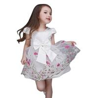 Pretty Embroidered Wedding Flower Girl Pink Floral Bow Lace Tie Back Dress