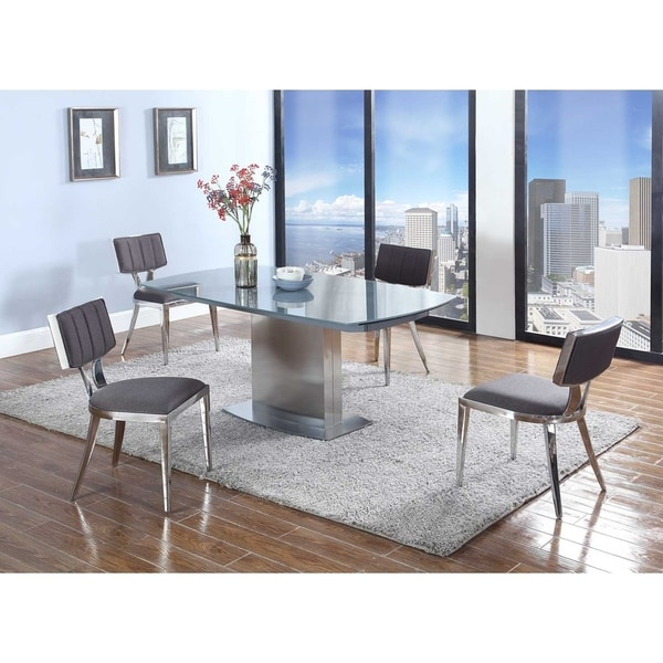 Somette Maya 5-piece Dining Set with Grey Textured Chairs