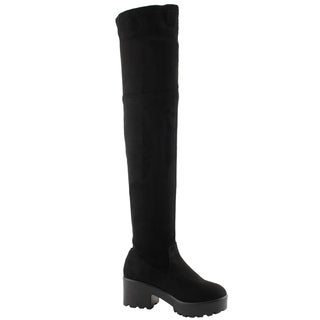 Beston EJ76 Women's Stretchy Snug Fit Block Heel Over the Knee Thigh High Boots