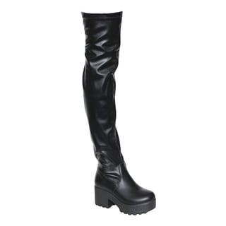 Beston EJ57 Women's Lug Sole Platform Heeled Stretchy Over The Knee High Boots
