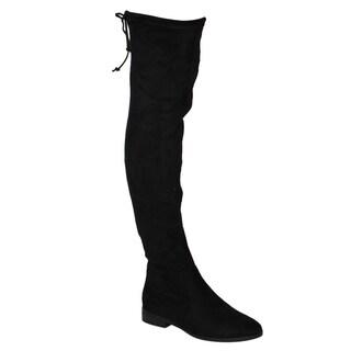 Beston FM33 Women's Stretchy Snug Fit Thigh High Drawstring Block Heel Boots