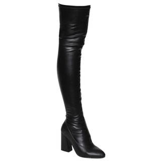 Beston FM29 Women's Snug Fit Side Zip Thigh High Boots Half Size Small