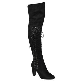 Beston FM36 Women's Side Zipper Chunky Wrapped Heel Thigh High Tassel Boot