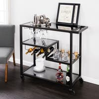 Holly & Martin Zephs Black and Smoked Mirror Bar Cart