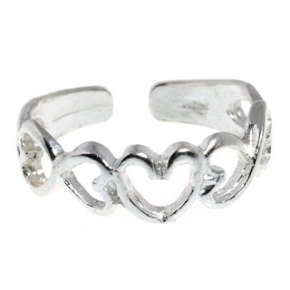 Sterling Silver Open Heart Toe Ring Midi Ring