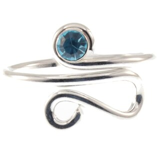 Sterling Silver Lite Blue Cubic Zirconia Toe Ring Midi Ring