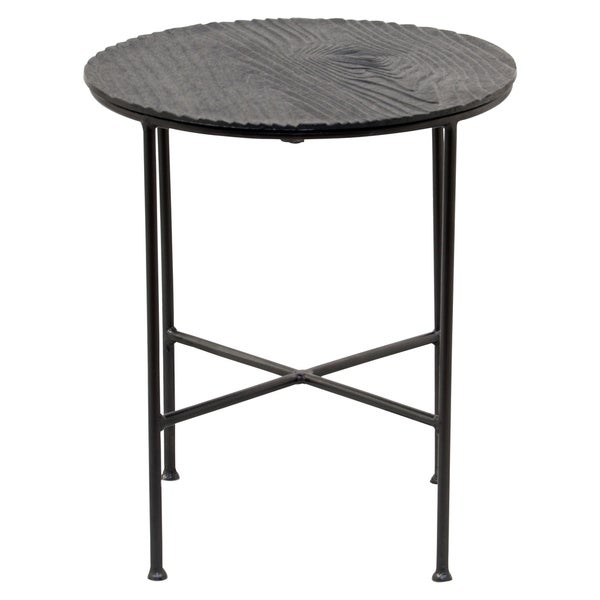 Renwil Bale Grey/Black Aluminum Round Accent Table