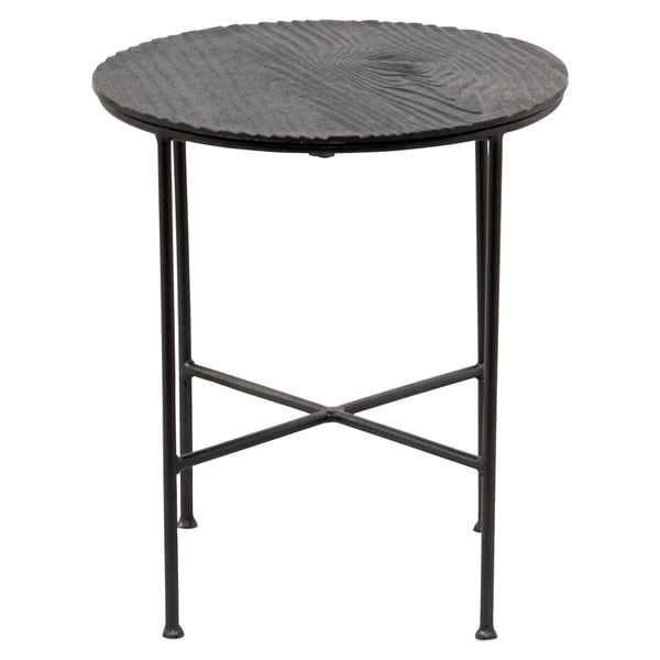 Renwil Bale Grey Aluminum Round Accent Table