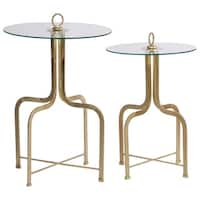 Renwil Titus Gold Glass Round Accent Table