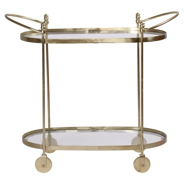 Renwil Aurelius Brass Glass Oval Trolley
