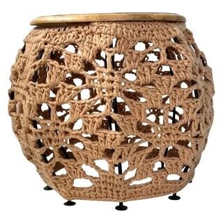 Renwil Doris Natural Finish Mango Wood/Iron/Synthetic Fiber Accent Table