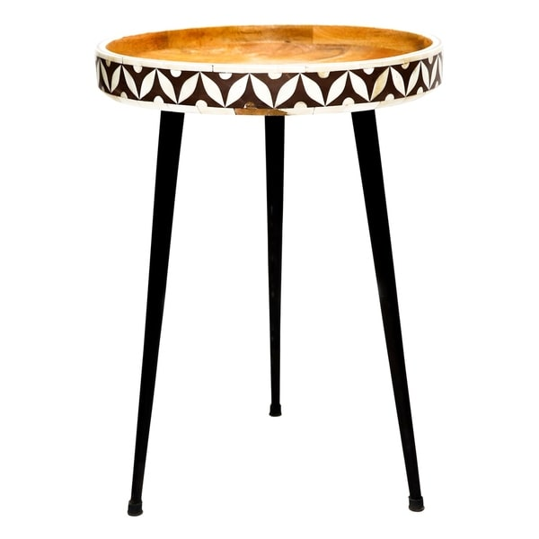 Renwil Hopper Brown/White/Black Wood Round Accent Table