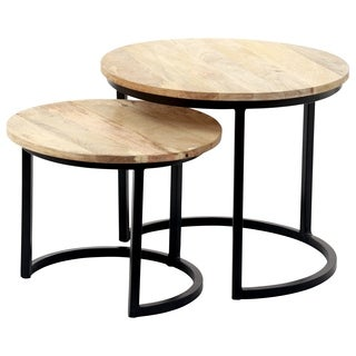 Renwil Shane Natural Iron Nesting Round Accent Table