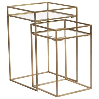 Renwil Everly Gold Mirrored Nesting Square Accent Table