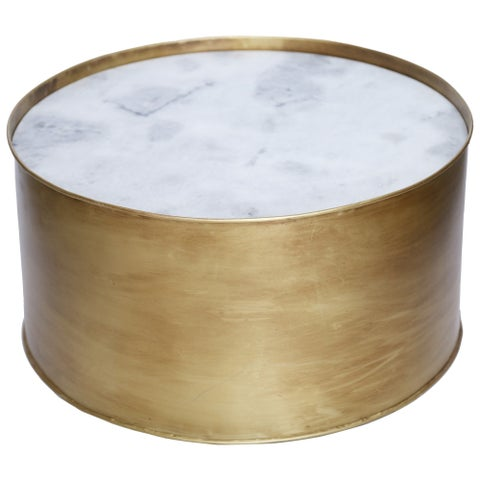 Renwil Emerald White Marble Round Accent Table
