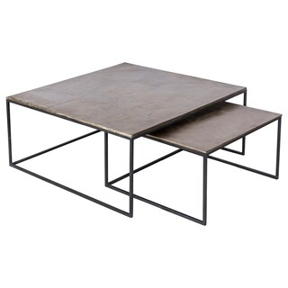 Renwil Lionel Aluminum Grey Square Nesting Accent Table