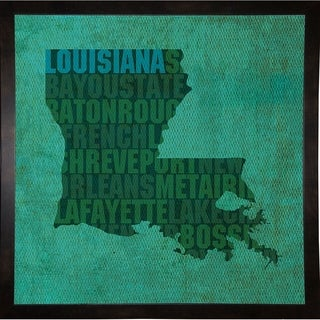 "Louisiana State Words Framed Print 11.75""x11.75"" by David Bowman"