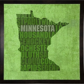 "Minnesota State Words Framed Print 11.75""x11.75"" by David Bowman (Option: Clear)"